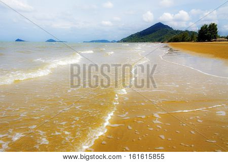 Storm with wave and wind on beach in Chumphon provinceThailand.