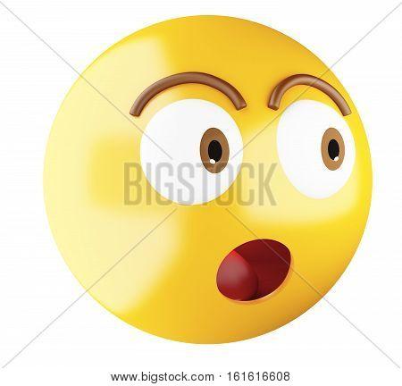 3D Illustration. Emoji icon surprised. Emoji symbol concept. Isolated white background.