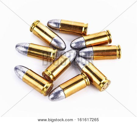 Bullet gun group isolated on white background