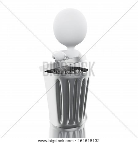 3D Illustration. White person throwing away trash. Isolated white background.