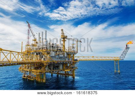Oil and gas platform or Construction platform. power business concept. offshore rig plant. energy concept. stock investment