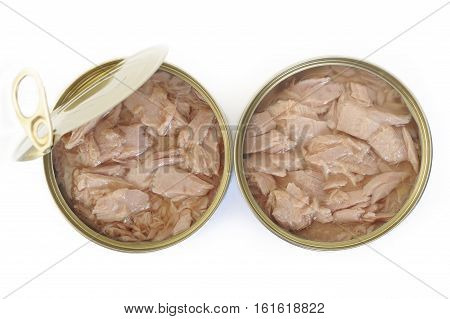 tuna fish canned on a white background
