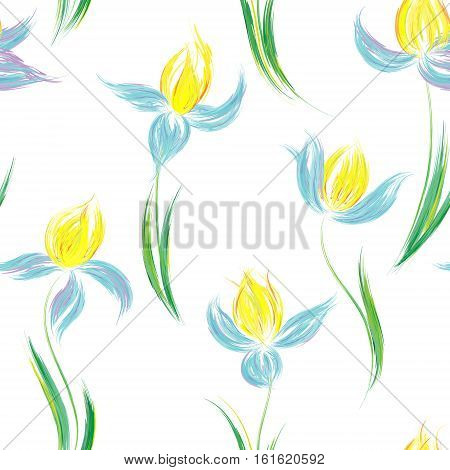 Floral seamless pattern of irises. Irises painted imitation of oil paint. Creative execution of floral ornament. Blue yellow flowers on a white background.