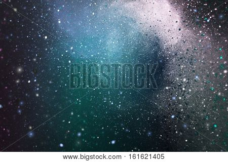 Winter Storm Abstract Sparkles On Dark Background. Fractal Art. 3D Rendering.