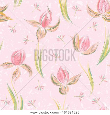 Floral seamless pattern of irises and dandelion seeds. Irises painted imitation of oil paint. Creative execution of floral ornament. Pink flowers on a delicate pink background.