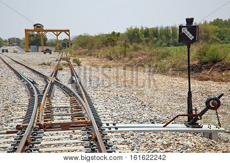 The turning point of the rails, Old rusty Railroad switch