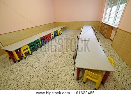 Lunchroom Nursery With Tables And Small Chairs