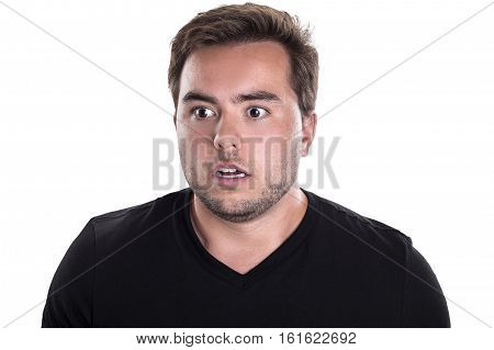 Portrait of a man looking scared and surprised on a white background