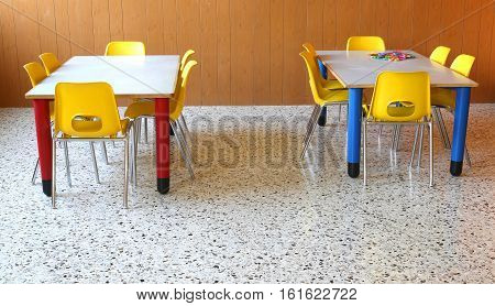 Small Tables With Chairs In The Classroom