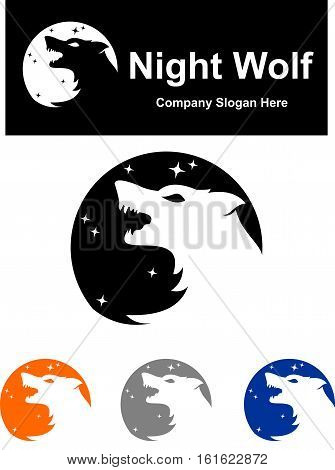 logo illustration scream roar wolf on the night