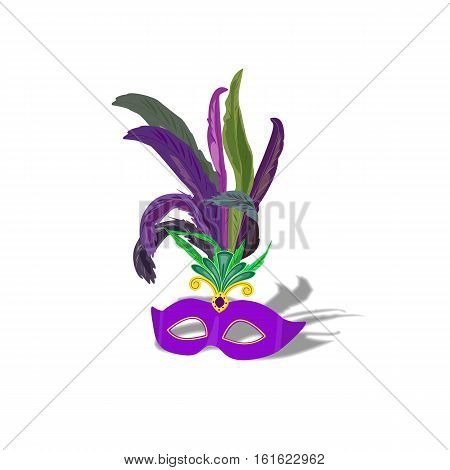 Masquerade mask with feathers isolated icon. Freehand cartoon style. Mardi Gras parade celebration label traditional colorful symbol. Holiday carnival sign. Vector decorative element banner background
