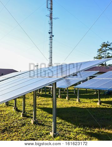 Solar energy plants and blue sky and sunshine