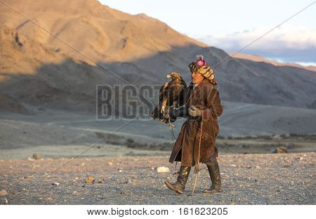 Bayan Ulgii Mongolia October 2nd 2015: Man with his horse and Altai Golden eagle at sunset