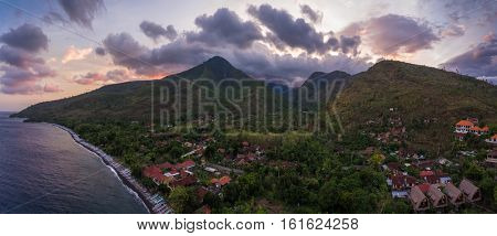 Aerial panorama of the north eastern coastline of the island of Bali, Village of Amed, Indonesia