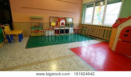 Hall Of A School For Kids Without People