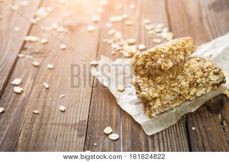 Dietary bars on wooden table