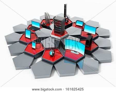 Network with pentagon tiles connecting electronic devices. 3D illustration.