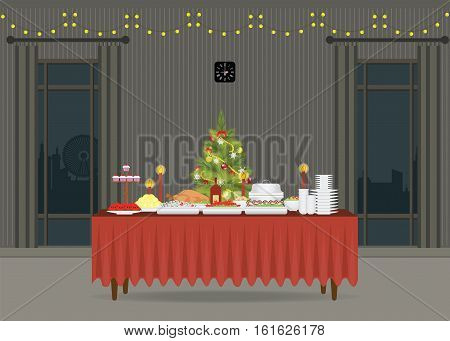 Christmas food on the table Decorating with Christmas tree table for festive holiday romantic dinner Banquet table with food and drinks flat design style vector illustration