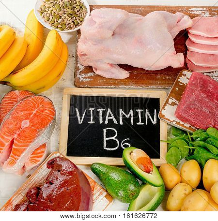 Products With Vitamin B6. Healthy Food Concept.