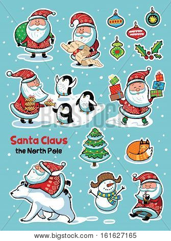 Set of cute Christmas character - Santa Claus, polar bear, penguins, snowman and fox, christmas tree and gifts. Vector illustration.
