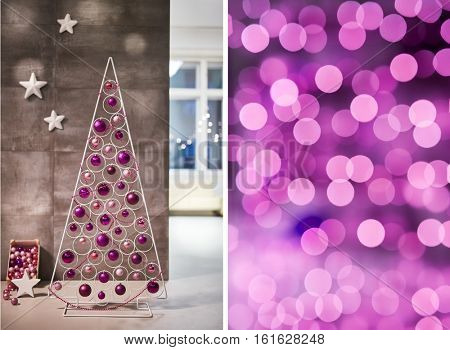 Christmas home and interior decorations. Colorful cosy Christmas lights.