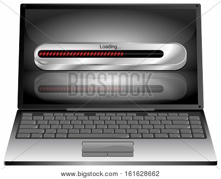 decorative Laptop computer with Loading bar - 3D illustration