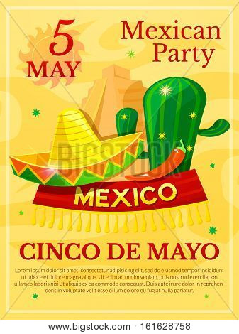Mexican vector poster, Cinco De Mayo illustration