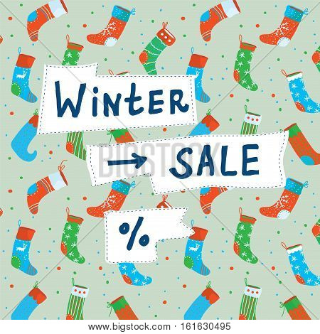 Christmas sale funny banner with socks and decorations - vector graphic illustration