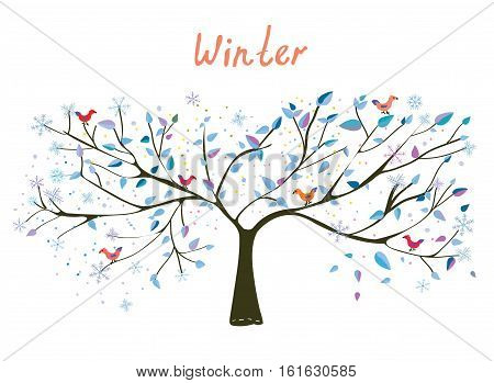 Winter tree with snow and birds - vector graphic illustration