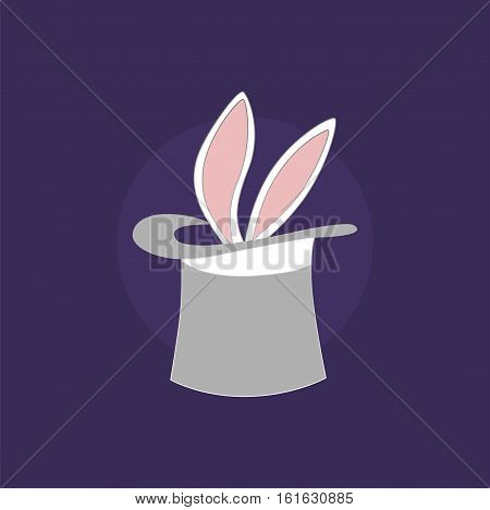 Vector icon. Sticking the rabbit ears. The focus in the circus. jpg, eps