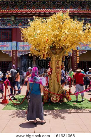 Bronkhorstspruit, South Africa - February 06, 2016: The young woman is standing in front of the Wishing Tree next to the Chinese Nan Hua Temple in South Africa. Praying and making the wishes during the Chinese New Year ceremony.