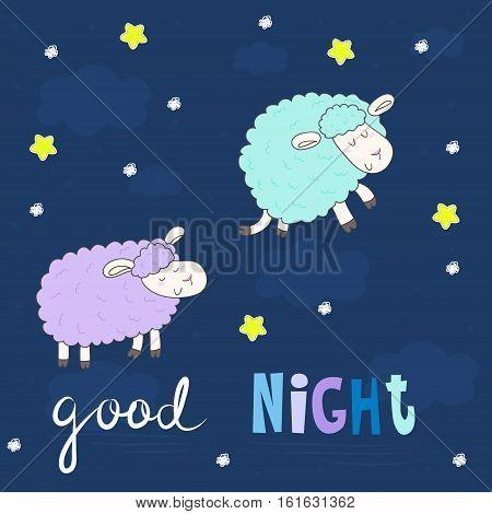 Good night card. Cute hand drawn sheeps in cartoon style. vector print.