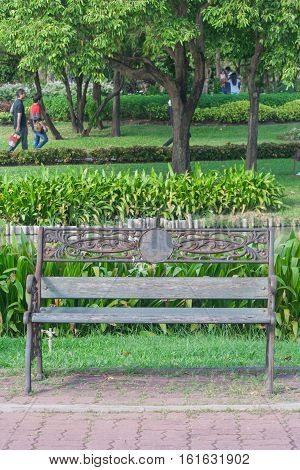 Metal garden chair in public park, Thailand.