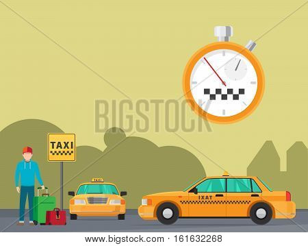 City taxi transportation service vector illustration. Waiting for taxi vector illustration