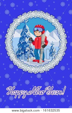 Flat design vector illustration of little boy from the mountain by ski equipped. Congratulation card new year with lettering.