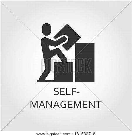Label of self-management as man builds a graph and goes to top. Simple black icon Logo drawn in flat style. Black shape pictograph for your design needs. Vector contour silhouette on white background.
