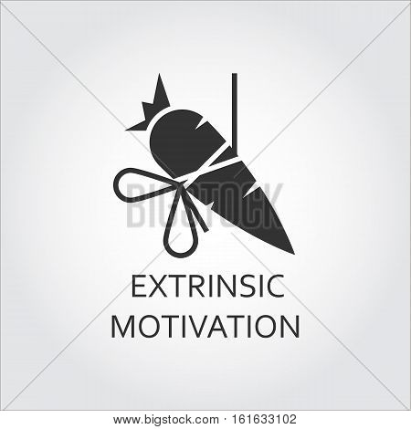 Extrinsic motivation, bait, lure as carrot on a rope. Simple black icon. Logo drawn in flat style. Black shape pictograph for your design needs. Vector contour silhouette on white background.