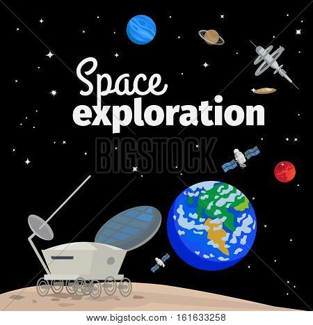 Space exploration illustration with outer space, earth and satellites. Vector illustration