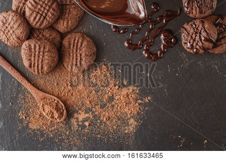 Cocoa Beans And Cocoa Powder On Wooden Spoon