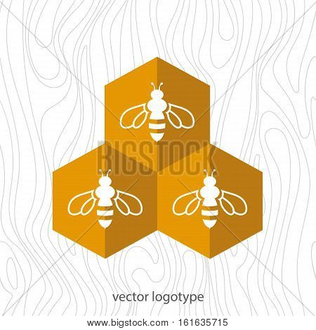 Bee icon. Vector flat logo. Stock illustration for design on wood background.