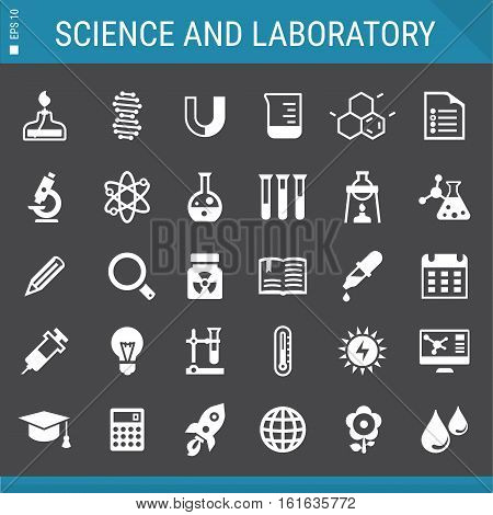 Basic flat design Science and Laboratory icons collection