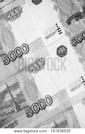 Russian money for background, 5000 rubles, cash