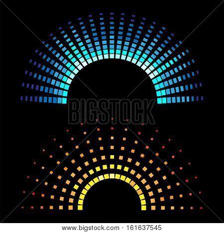 Colour equaliser half round soundwaves isolated on black background. Vector illustration