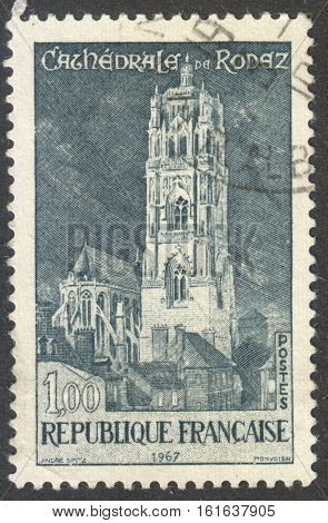 MOSCOW RUSSIA - CIRCA NOVEMBER 2016: a post stamp printed in FRANCE shows the Roman Catholic Cathedral Rodez circa 1967