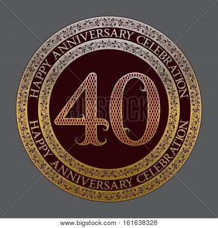 Fortieth happy anniversary celebration logo symbol. Golden maroon medal emblem in vintage style.