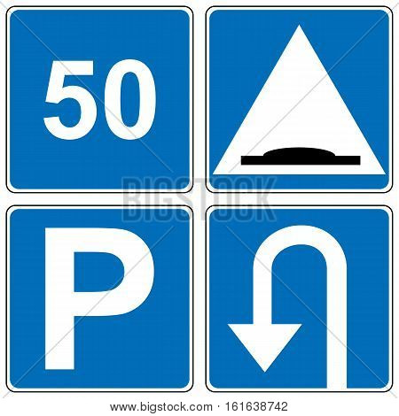 Set of traffic road sign. Speed limit, road hump, parking, U-turn square symbols. Vector illustration