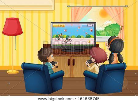 Children playing vdo game in the living room illustration