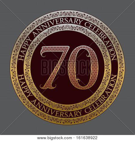 Seventieth happy anniversary celebration logo symbol. Golden maroon medal emblem in vintage style.