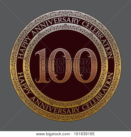 Hundredth happy anniversary celebration logo symbol. Golden maroon medal emblem in vintage style.