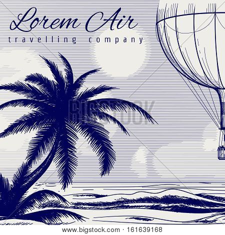 Ball pen drawing travel poster design with palm tree sea and hotair balloon. Vector illustration